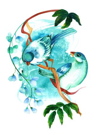 파란색 텍스처에 꽃과 함께 지점에 청록색 수채화 조류 스톡 콘텐츠