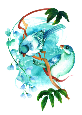 Teal watercolor birds on branch with flowers, on blue texture