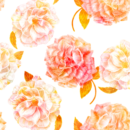Seamless pattern with vintage watercolor roses, golden toned