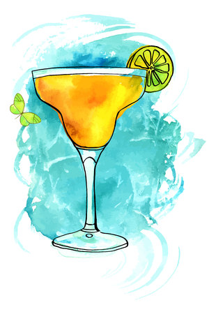 Watercolour Margarita with butterfly and texture