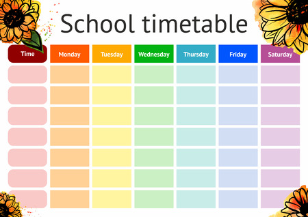 Vector school timetable, weekly curriculum design template Ilustrace