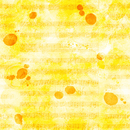 Seamless golden pattern with sheet music and ink stains Stock Photo