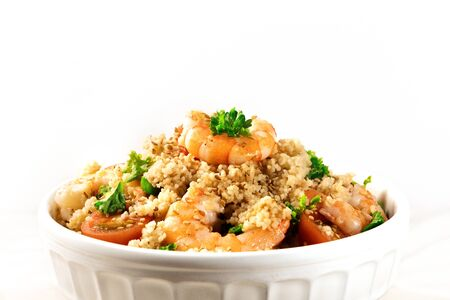 Closeup of shrimp coucous on white with copyspace Stock Photo