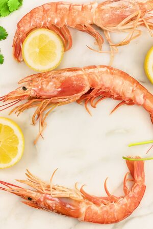 Raw shrimps with slices of lemon, cilantro, and copyspace Stock Photo