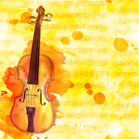 Violin on faded sheet music, golden toned design template