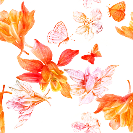 Seamless pattern with fuchsia flowers and butterflies, golden to
