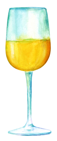 Watercolor drawing of glass of white wine, isolated on white