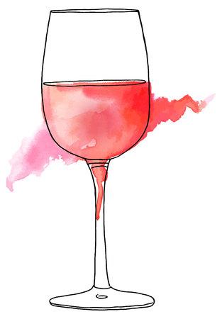 Vector en waterverftekening van glas roze wijn