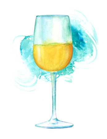 Watercolor drawing of glass of wine with teal brush stroke Stock Photo