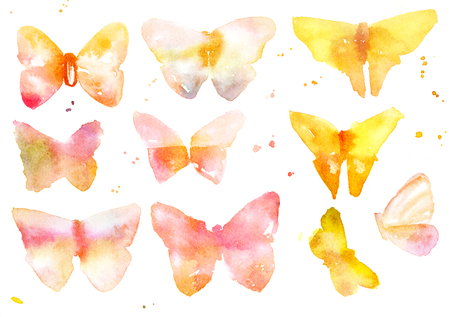 Collection of abstract golden watercolour butterflies on white