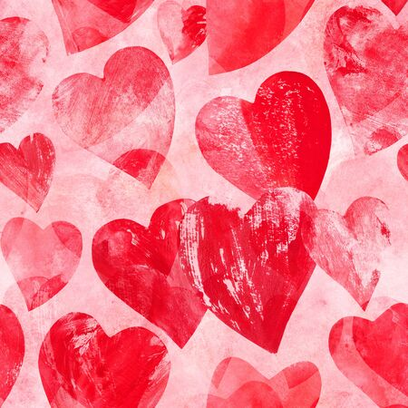 Seamless pattern of print stamped red hearts on pink Stock Photo