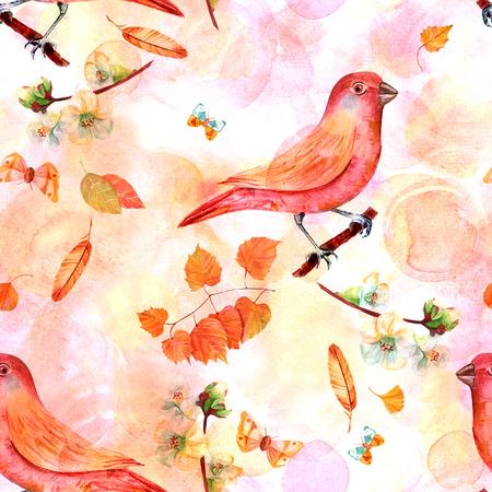 membrillo: Patrón sin fisuras con pájaros de acuarela de estilo vintage y flores