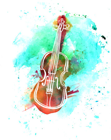 Vector and watercolor grunge violin drawing with copyspace