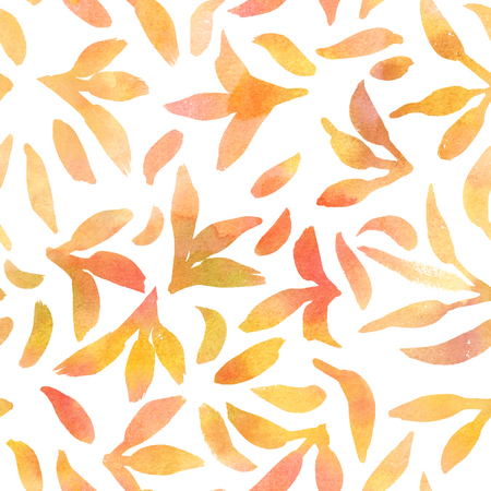 Abstract seamless pattern with golden watercolour leaves
