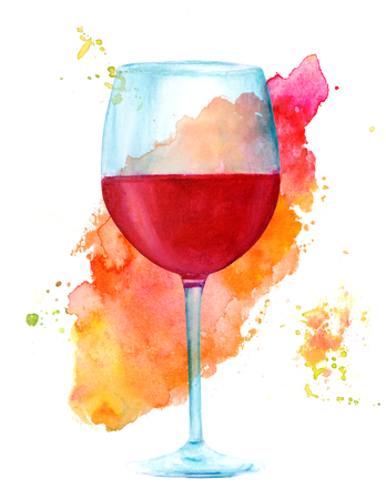 Watercolor red wine glass with vibrant brush stroke texture