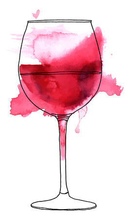 Vector and watercolor drawing of glass of red wine.  イラスト・ベクター素材