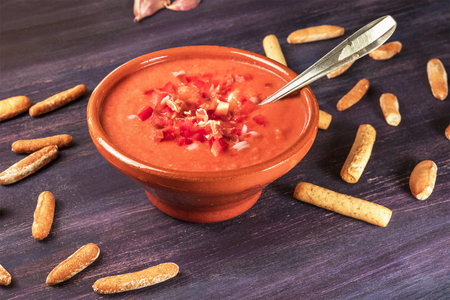 andalusian cuisine: Photo of gazpacho, traditional Spanish soup, with copyspace