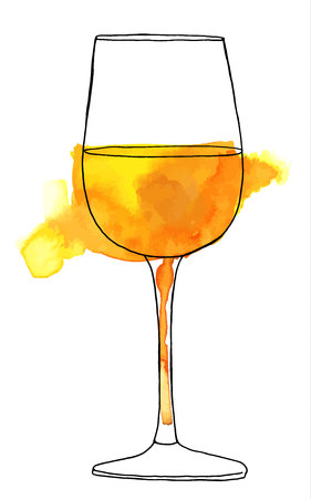 Vector and watercolor drawing of glass of white wine