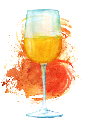 Watercolor drawing of glass of wine with bronze brush stroke Stock Photo