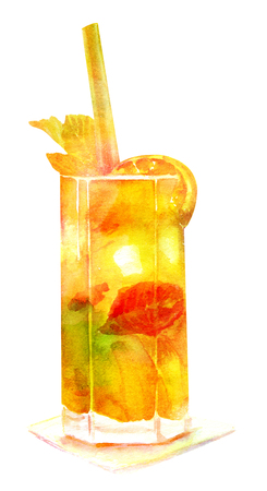 Golden watercolor cocktail with drinking straw, isolated