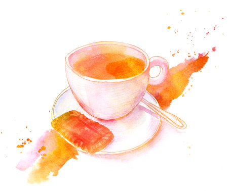 Golden toned watercolour drawing, cup of coffee with biscuit Stock Photo
