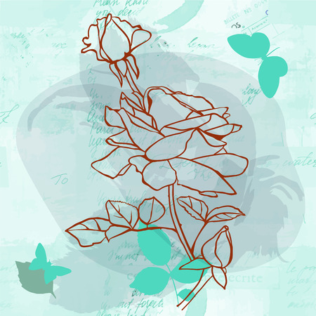 Vector rose with butterflies on faded old letters texture Illustration