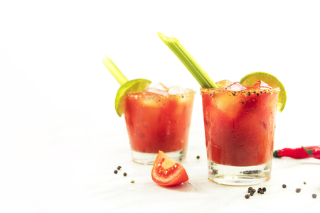 peppercorn: Bloody Mary cocktails with celery and lime