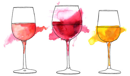 Set of vector and watercolor drawings of wine glasses