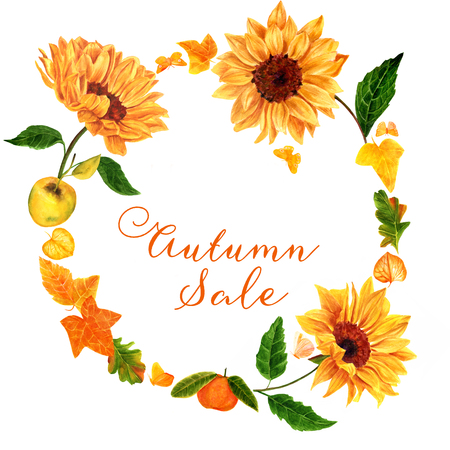 golden apple: Autumn Sale design template with watercolor drawings and copyspace Stock Photo