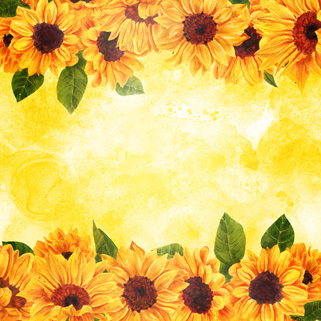 Vibrant watercolour sunflowers on golden texture with copyspace