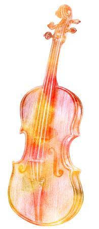 Golden toned pencil drawing of vintage violin on white