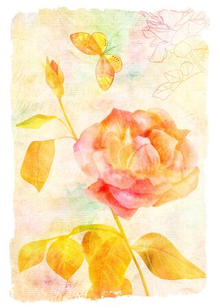 Vintage collage with rose and butterfly, golden toned Stock Photo