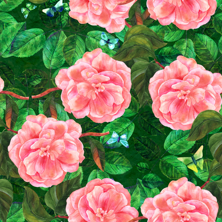 japanese garden: Seamless pattern with watercolor camellias and butterflies Stock Photo