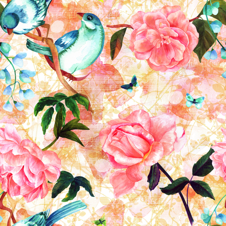 fade: Seamless pattern with watercolor birds, flowers, and notes Stock Photo