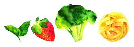 Set van geïsoleerde aquarellen veganistisch voedsel thema tekeningen