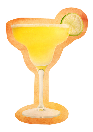 side bar: Cutout of retro styled photo of Margarita cocktail