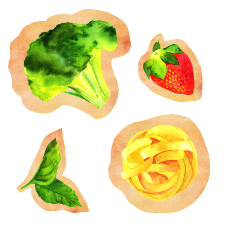 scraps: Set of isolated cutouts of watercolour vegan food drawings Stock Photo