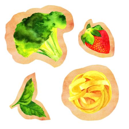 Verzameling van geïsoleerde uitsparingen van aquarel veganistisch eten tekeningen