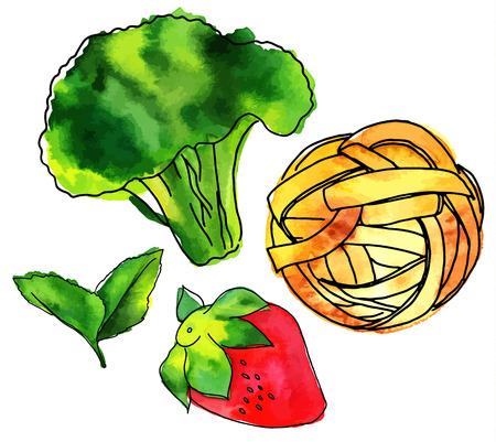 Verzameling van geïsoleerde vector en aquarel veganistisch eten tekeningen Stock Illustratie