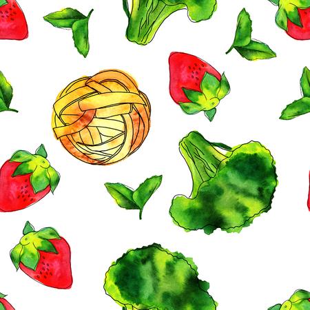 Naadloos patroon van aquarellen veganistisch voedsel thema tekeningen