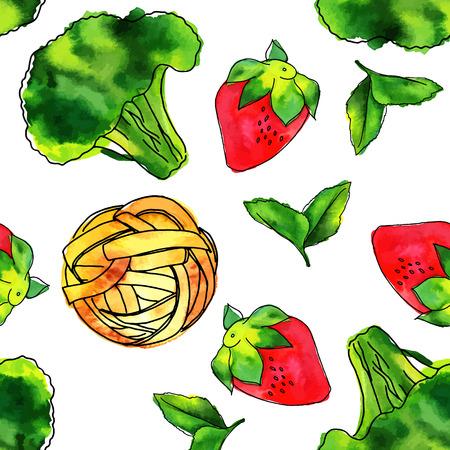 Seamless pattern of watercolour vegan food themed drawings Illustration