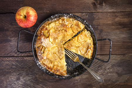 hotcakes: Apple puff pancake pie with apple and copyspace