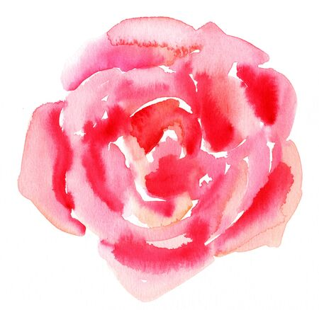 Abstract watercolor rose drawing on white background Stock Photo