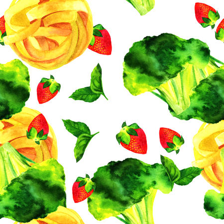 themed: Seamless pattern of watercolour vegan food themed drawings Stock Photo