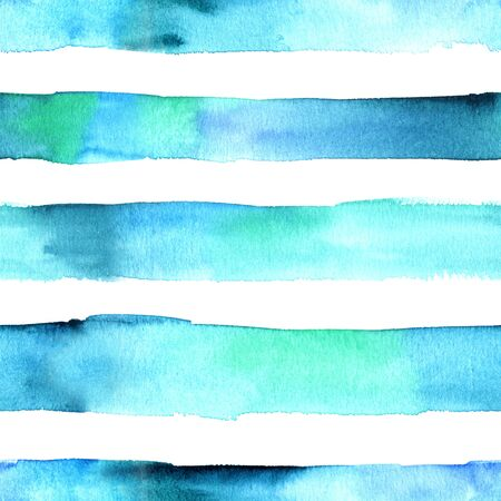 Seamless abstract watercolor texture with teal blue stripes