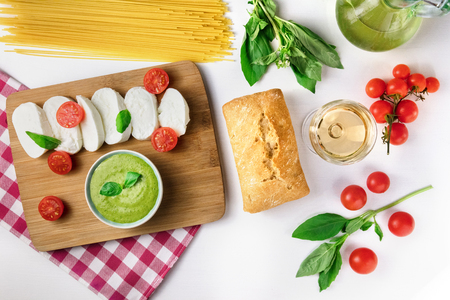 pinot: Assortment of Italian foods from above with copyspace