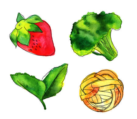 Set of isolated watercolour vegan food themed drawings Stock Photo
