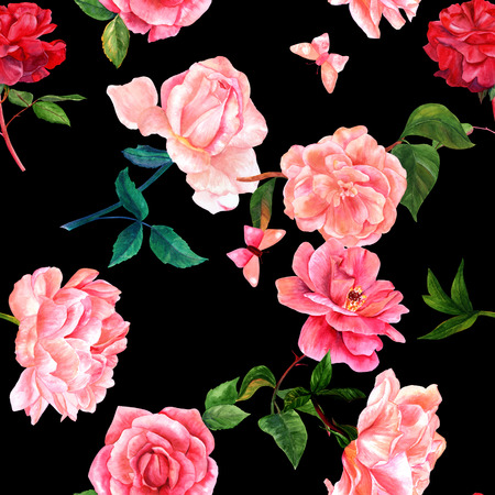 Seamless pattern of watercolor flowers and butterflies on black