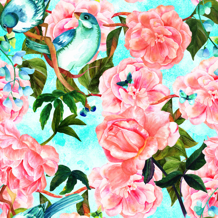 eden: Seamless teal pattern with watercolor birds and roses