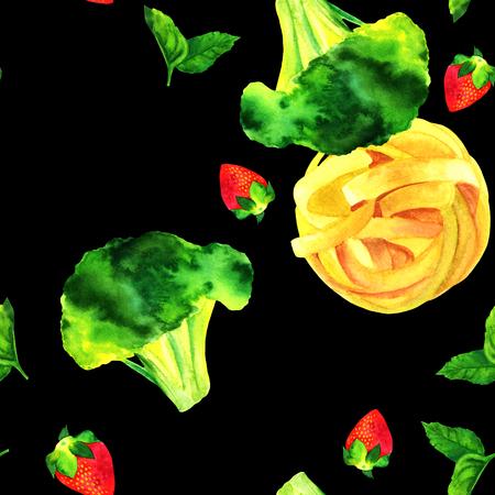 Naadloos patroon, waterverf veganistische voedsel tekeningen op zwart Stockfoto